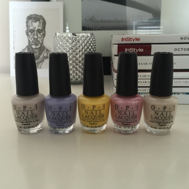 OPI (from r to l): Don't Bossa Nova Me Around, Don't Be Such a Budapest, I Can't Cope-Acabana, Pedal Faster Suzi!, My Vampire is Buff