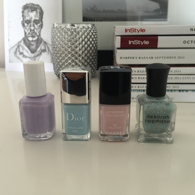 Essie Lilacism, Dior Porccelaine, Chanel Ballerina, DL Glitter in the Air