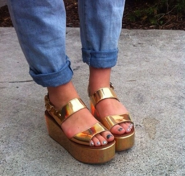 Gold Flatforms Sandals Style Domination