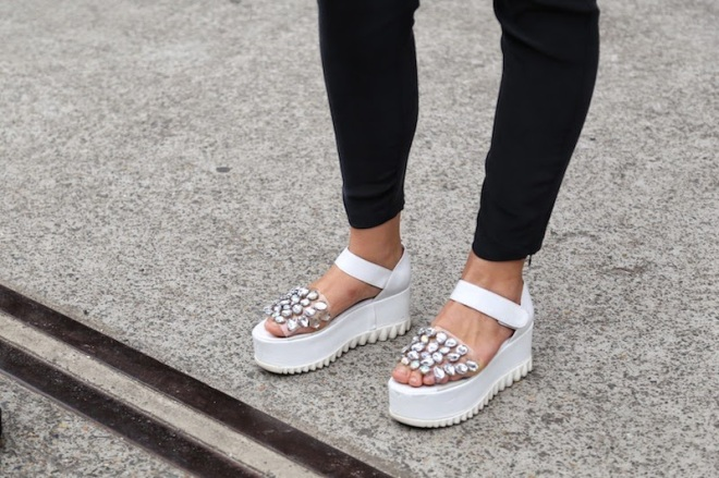 White flatforms sandals Style Domination